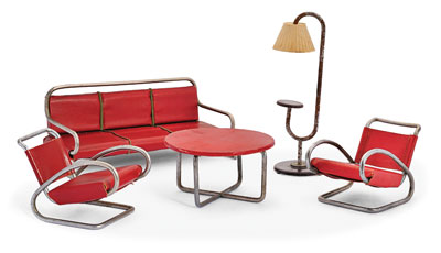 1930s Jindrich Halabala dolls house furniture in bent tubular steel with leatherette upholstery and wooden table top by UP Zavody Brno, Czechoslavakia (sold).