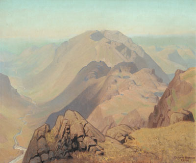 Delmar Harmood Banner (1896-1983), 'A River Winding through a Mountainous Landscape' – Sold for £2,200