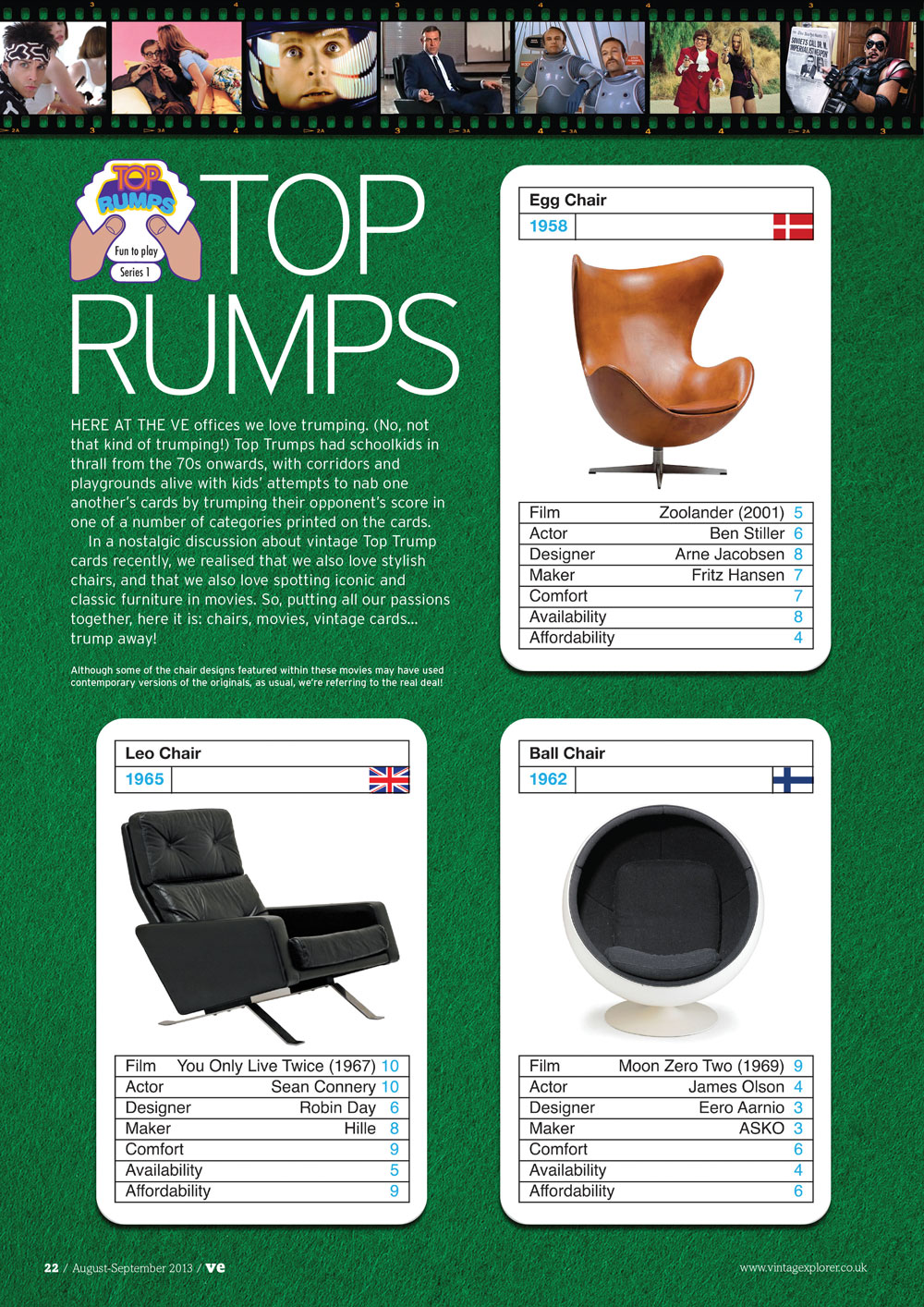 ISSUE 11 - AUG/SEPT 2013 - TOP RUMPS Here at the VE offices we love trumping. (No, not that kind of trumping!) Top Trumps had schoolkids in thrall from the 70s onwards, with corridors and playgrounds alive with kids' attempts to nab one another's cards by trumping their opponent's score in one of a number of categories printed on the cards.