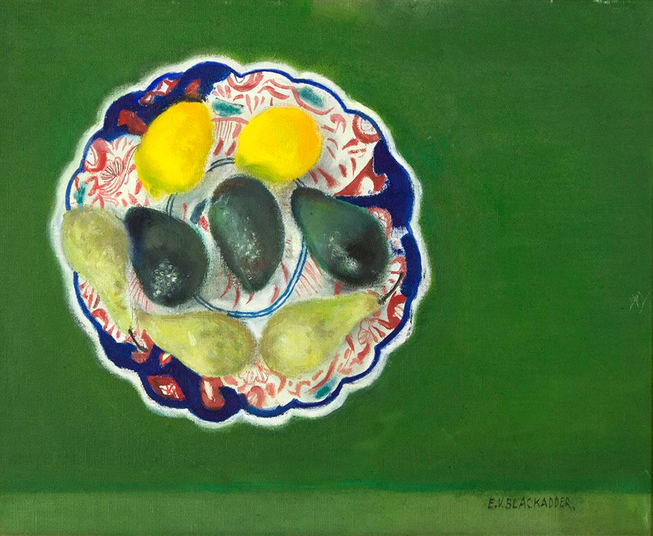 Elizabeth Blackadder, (b 1931) Japanese plate with Fruit est £5,000-7,000