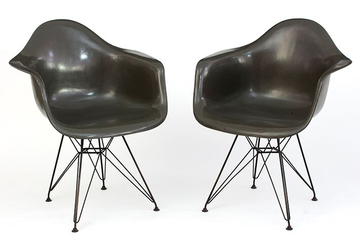 Charles and Ray Eames for Herman Miller two DAR chairs in grey, each with moulded seat on Eiffel Tower metal frame - est £300 - 500