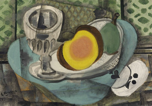 Georges Braque (1882-1963)  Les deux as  signed and dated 'G Braque 29' (lower left) oil on canvas 9 5/8 x 13 3/4 in. (24.3 x 35 cm.) Painted in 1929  Estimate GBP 300,000 - GBP 400,000