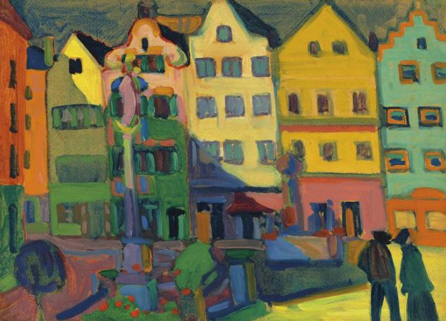Wassily Kandinsky (1866-1944) Weilheim-Marienplatz oil on board 13 x 17 5/8 in. (33 x 44.7 cm.) Painted in 1909 Estimate GBP 3,500,000 - GBP 5,500,000