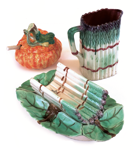 Majolica Ware for sale at the last Battersea Decorative Fair from regular exhibitors Millers Antiques: Asparagus jug by Onnaing c.1880 (£295); Pumpkin-shaped tureen or jam-pot c.1930 (£78); Asparagus cradle by Longchamp c.1880 (£365).