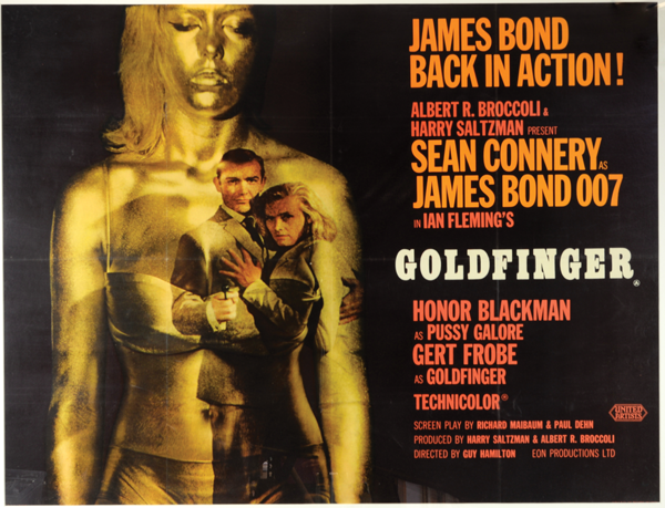 British Quad film poster, James Bond    Goldfinger    (1964). Estimate: £2,000-4,000