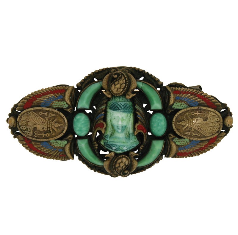1920s Egyptian Revival brooch with scarab beetle by the Neiger Brothers.