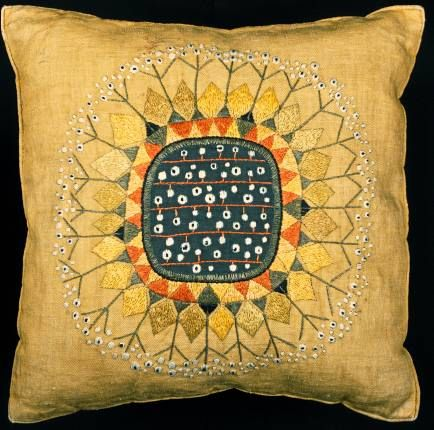 Pillow Cover, Salami, 1950–60; Designed by Edna Martin - Cooper-Hewitt Smithsonian Design Museum; Gift of Elizabeth Gordon; 1964-35-24