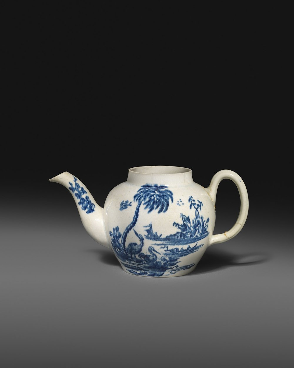 An important and previously unrecorded American porcelain teapot attributed to John Bartlam (Cain Hoy, South Carolina), c.1765-69. Estimate - £10,000 - £20,000. Starting price £10,000.