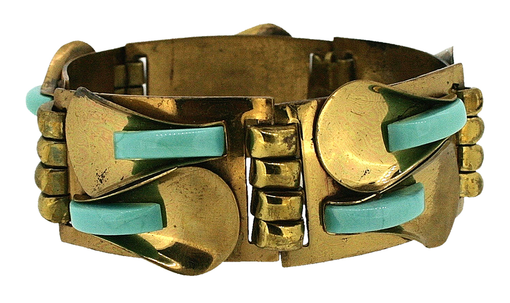 1920s Gilt and Glass Bracelet.