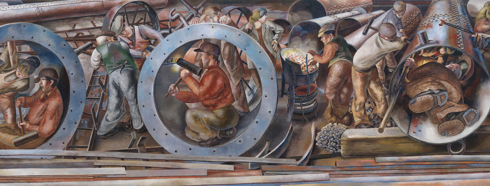 Detail of 'Riveters' from the series 'Shipbuilding on the Clyde' by Stanley Spencer ©Imperial War Museums