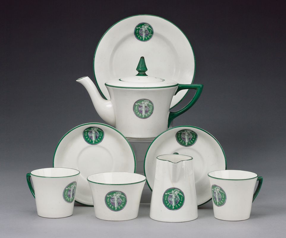 A WSPU tea set in the official colours sold for more than £6,000 at Bonhams in 2006