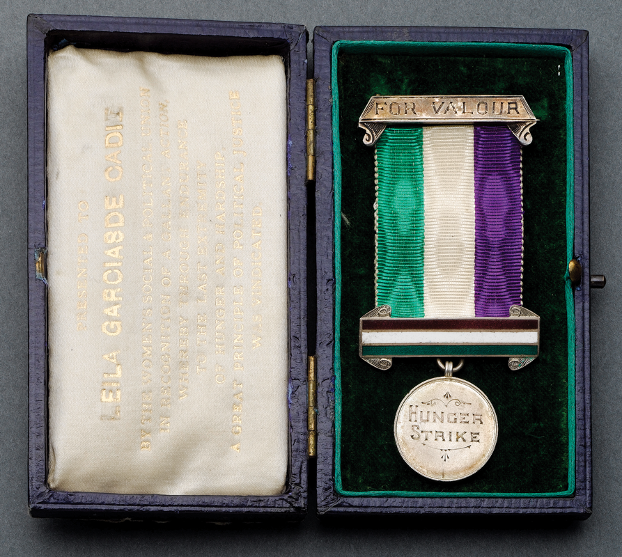 A different kind of Suffragette jewellery. This hunger strike medal was awarded to Leila Garcias de Cadiz, who went on to serve in the VAD during the Great War. It sold at Bonhams   in 2008 for more than £5,000