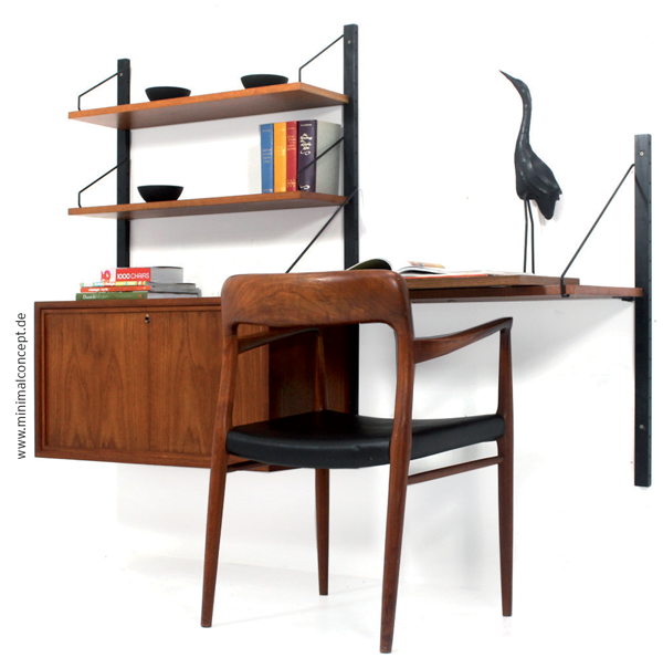 A very beautiful 1960s Danish Royal System modular wall unit with Moeller chair