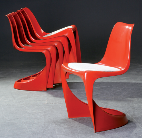Chair made of moulded plastic with   fixed cushion. Designed for Cado by Poul Cadovius and Steen Østergaard