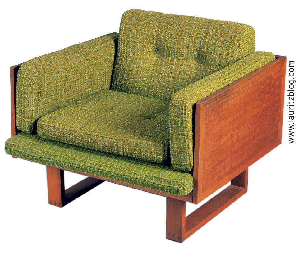 Armchair, model 211, made of braided rosewood with sled legs and green woollen loose cushions. Designed by Poul Cadovius for France & Søn