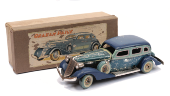 A rare 1930s clockwork, Graham Paige American saloon car by C K Toys with steerable front wheels, 29cm long. Sold for £480 in August 2014