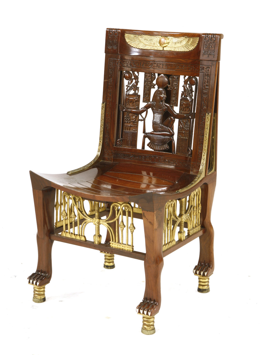A strong selection of objects from the Art Deco period includes a very high quality copy of the bone-inlaid and parcel gilt ceremonial chair found in the tomb of Tutankhamen in 1922. A splendid example of 'Egyptomania' - the fashion for all things ancient Egyptian that followed Howard Carter's famous discovery - it dates from c.1925. Bought by Sworders' vendor for over £25,000, it carries an auction estimate of £10,000-15,000.