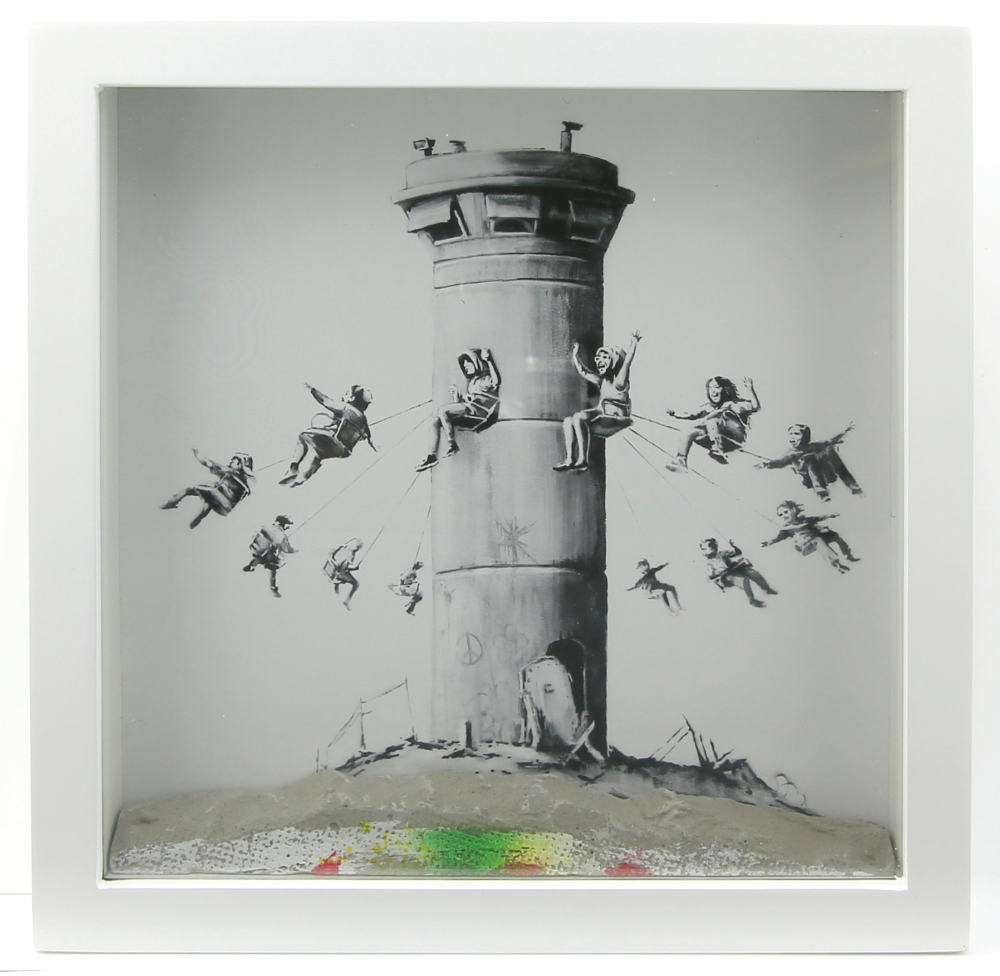 Above: A print by elusive British street artist Banksy from the 'Walled Off Hotel' in Palestine.  Estimate of £800 to £1,200.