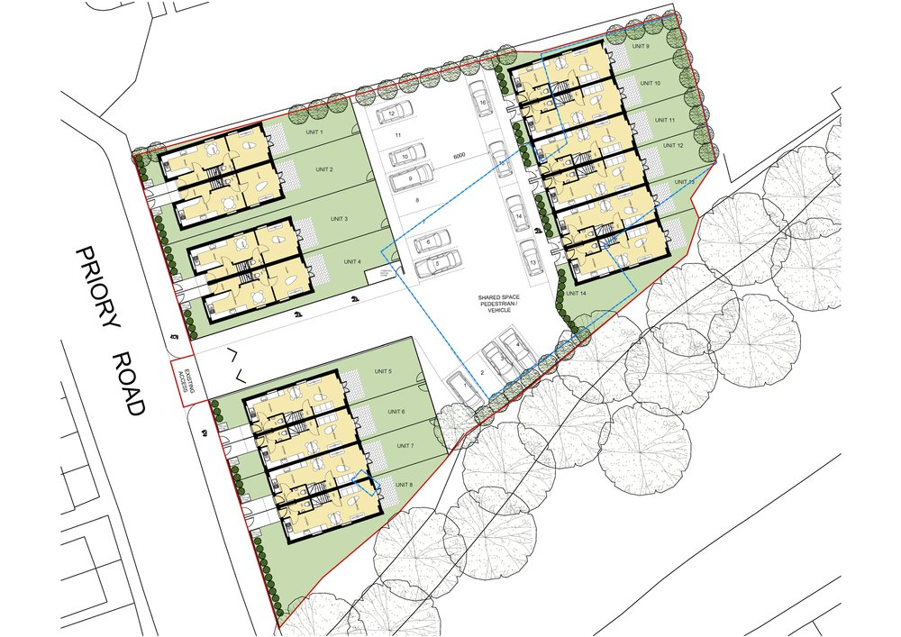 Site Layout showing 14 new dwellings in Tonbridge, all with generous gardens and parking.