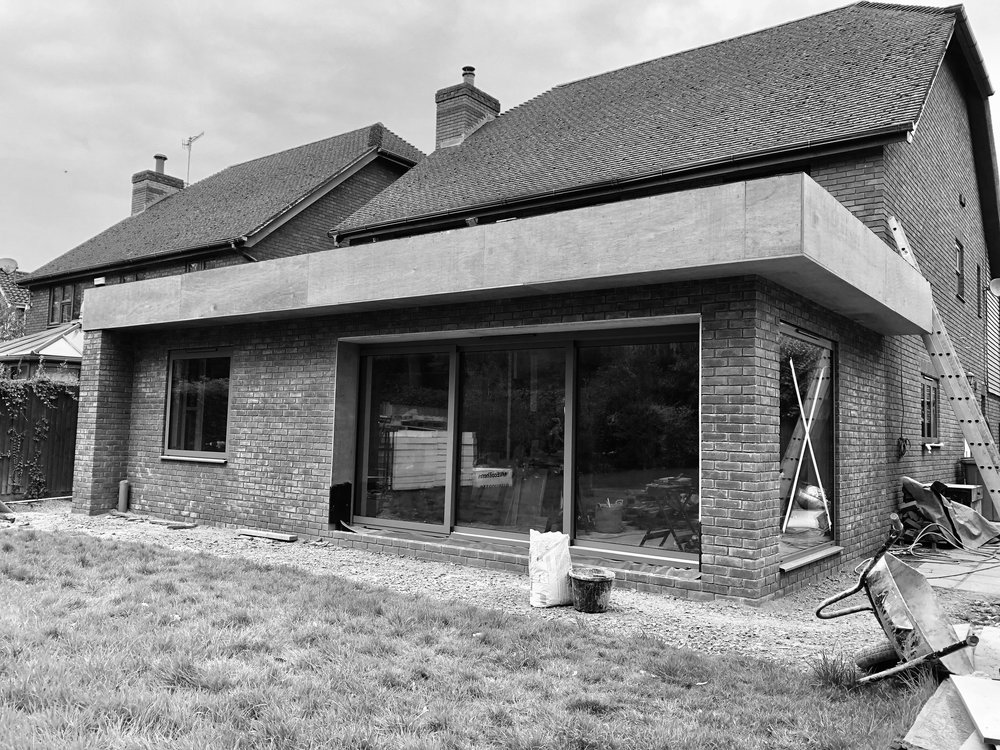 photograph showing the form of the extension prior to the zinc detailing.