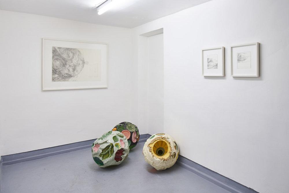 Installation image: 'Internal Structure:External Form',Angus Hughes Gallery, 2018. Sculptures: Hermione Allsopp