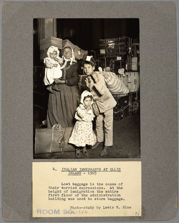 Figure 1: Italian Immigrants At Ellis Island (Source: The Miriam and Ira D. Wallach Division of Art, Prints and Photographs: Photography Collection, The New York Public  Library Digital Collections, 1905).
