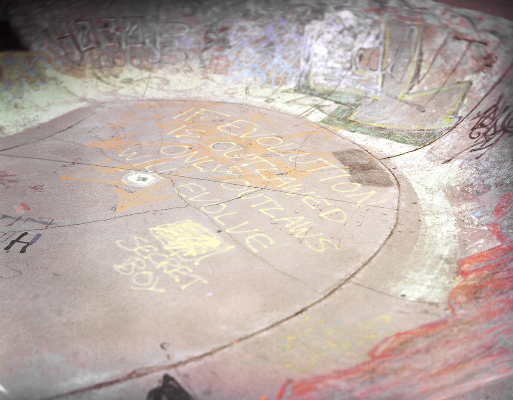 Figure 1: Expired 0001: Walter Baker Skate Park (Source: Machinski, 2018).  A well worn space where new graffiti is constantly being added, layered like an onion and at its centre this quote about evolution and change.