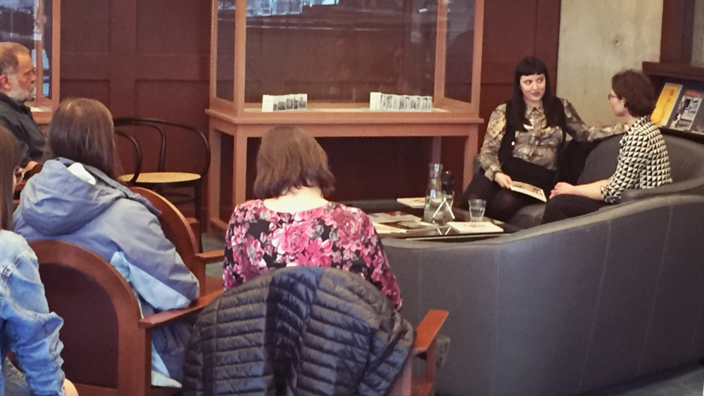 Figure 2: Dayna Danger and Sophie Guignard (Source: Machinski, 2018).  Answering questions from the group in the National Art Gallery Library after the talk.