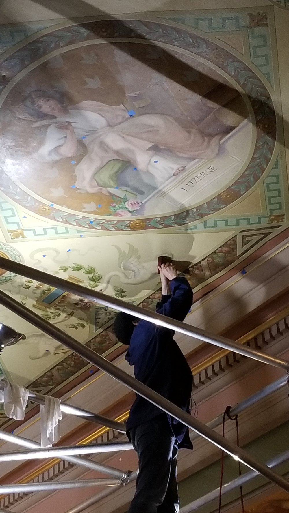A MEMBER OF THE JOHN CANNING CO., LTD TEAM BEGINS RESTORATION WORK AT THE LUZERNE COUNTY COURTHOUSE