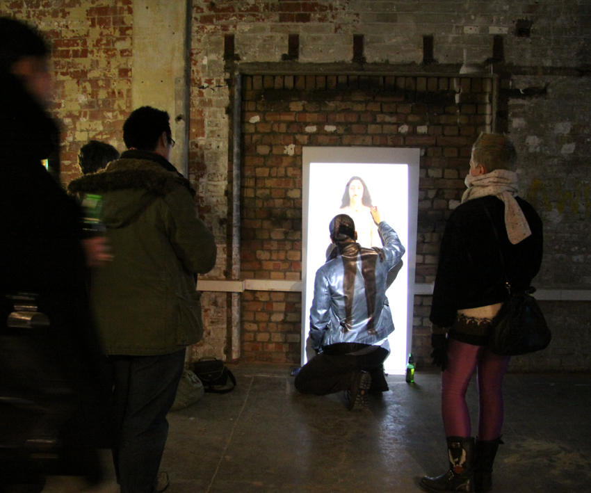 Installation view at Barge House Gallery, London, 2011    Interactive video installation, looped footage, video projector, cardboard paper, markers, 2011