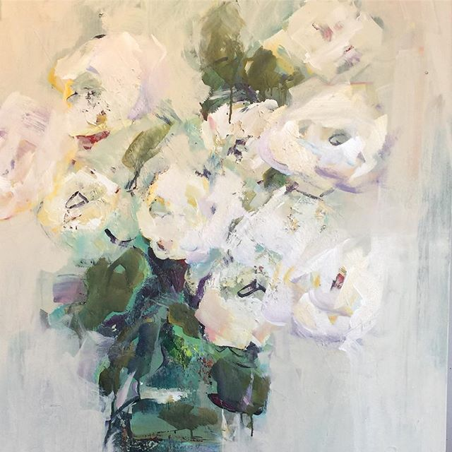 "A beautiful rainy day reminder from our friends at @musecofineart ❤️🌸🌼🌺Repost @musecofineart ・・・ It may be raining outside but April showers bring May flowers. 🌸🌼Happy Monday! ""Gardenia"" 30x40 by April Riley"
