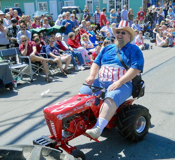 "Northwest Vintage Iron Club member Chris Anderson enjoyed driving ""Ol' Flame"" in a parade in Carnation, Washington."