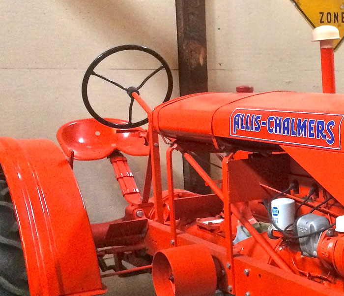 A steel spring arm holds the seat on this 1938 Allis-Chalmers WD, from the King Agriculture Museum.
