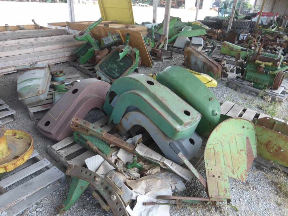 This photo shows some of the pre-1972 John Deere parts to expect at the New Paris Tractor Parts Co. yard auction held by Polk.  Photo Polk Auction Co.