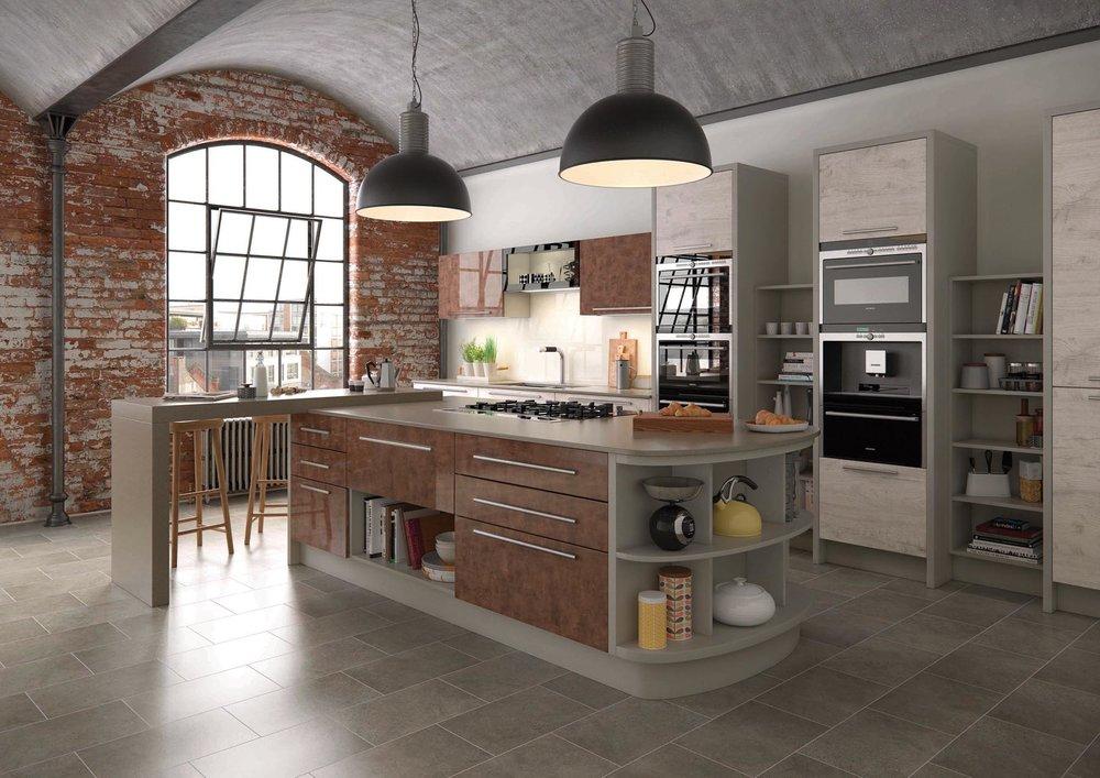 Mereway Kitchens Cucina Colore Gloss Cooer Treviso Light Oak