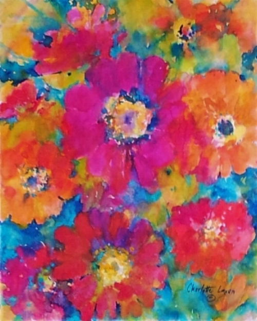 """Zinnias"" 16"" x 20"" original watercolor on wrapped canvas"