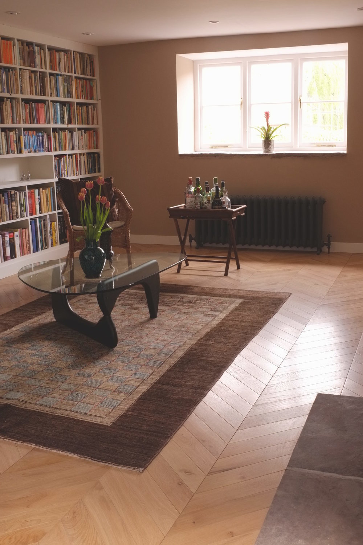 oak chevron flooring, library