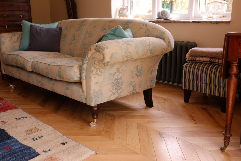 oak chevron flooring, sofa
