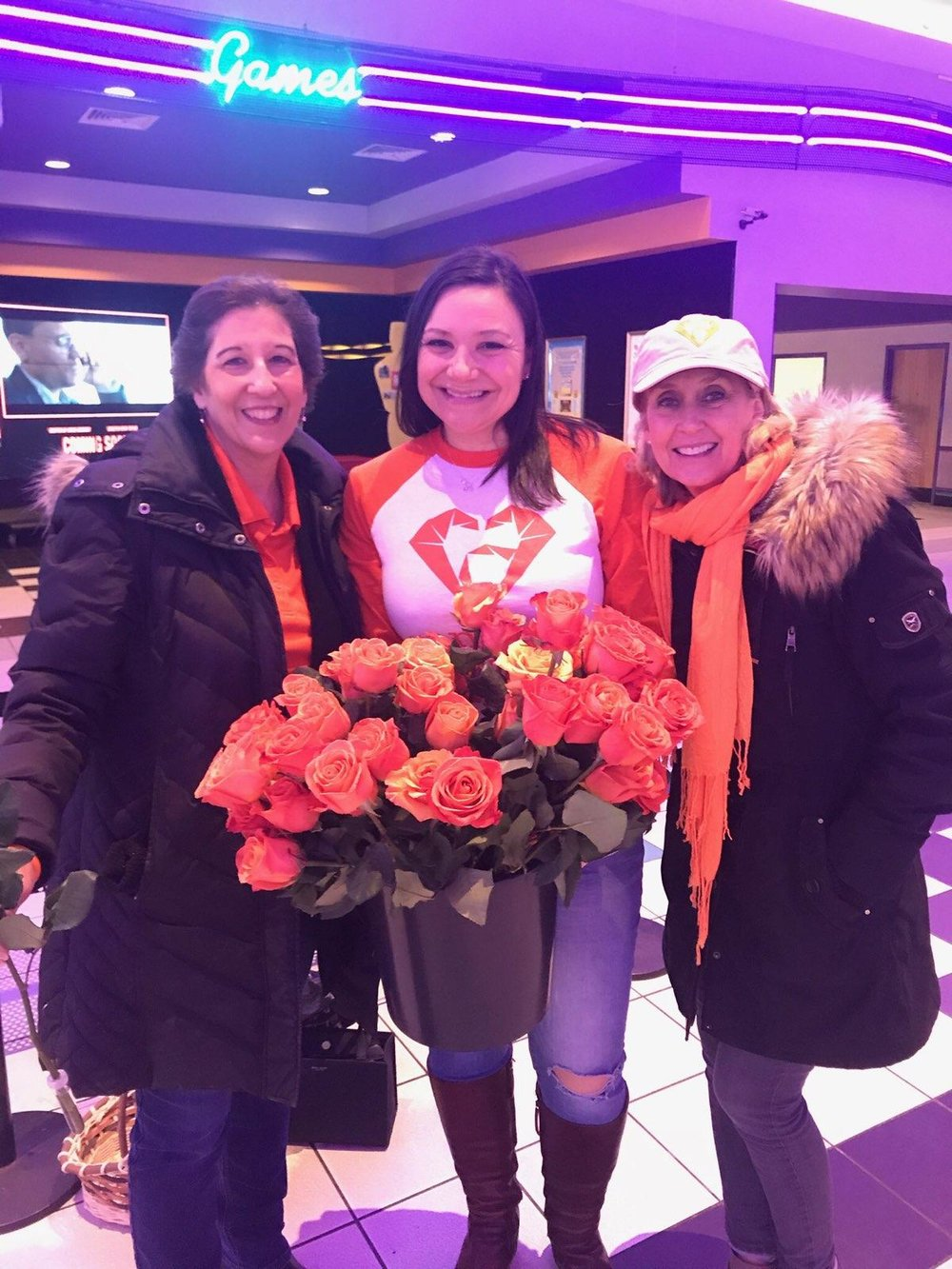 3 of our founding RAM members shared orange roses Friday night with folks at Charlestowne Theatre.  Spreading kindness and beauty!  Great job ladies!