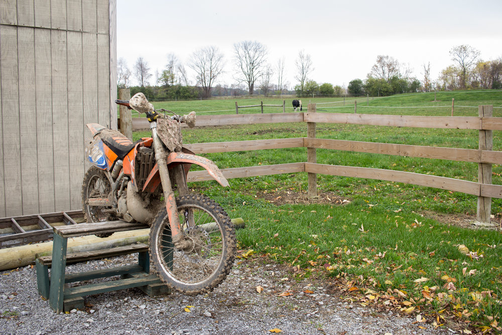 Mallory Eberhardt's bike sits at her boyfriend's family farm ready to be washed. Mallory has been riding motorcycles ever since she was a little girl, as many of her close friends and family will attest. 2016.