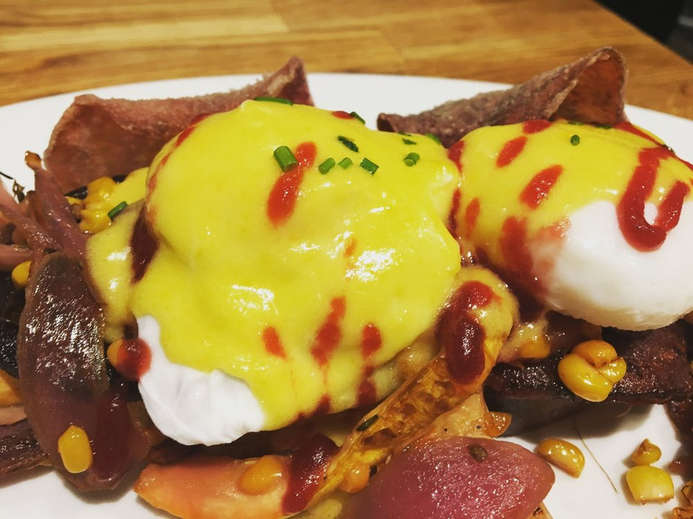 The Summer Benedict at Green Eggs. Pic via Green Eggs Facebook.