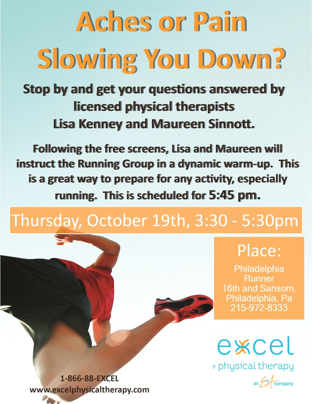 Excel physical therapy -  10 19 Free Screenings Run Warm Up With Excel Physical Therapy