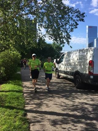 Philly Achilles first athlete, Bruce Linsky with running partner Nate Russell