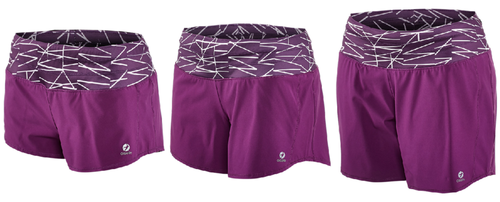 The Oiselle Roga shorts come in several lengths, from left to right: Mac Roga, Roga, Long Roga