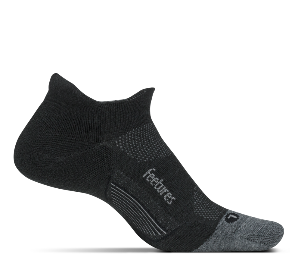 Feetures Merino10 Cushion No Show Tab  The Merino10 is a great sock option for regular running and trail running all year round but as the weather starts to get cooler the Merino10 is perfect for runners that need a little bit of warmth.