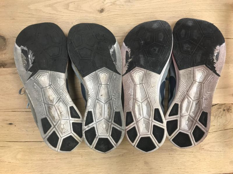 20f578746e4 Your treads are worn out. Take a look at the bottom of your shoes and check  the condition of the treads. The outsole of a shoe lasts longer than the ...