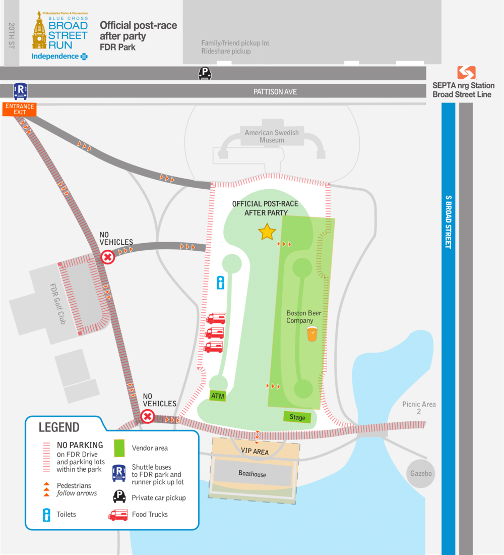 After Party Map via Broad Street Run