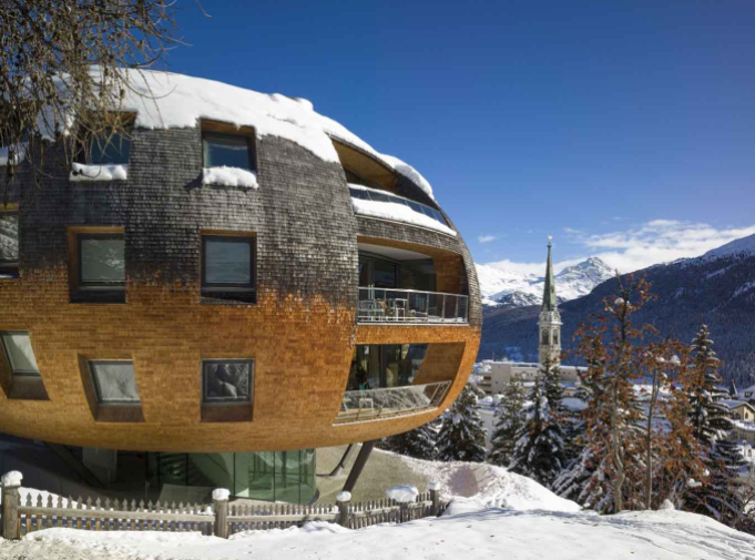 Chesa Futura (house of the future) is the innovative creation of Pritzker Prize-winning British architect Dir Norman Foster.  The dynamic bubble-shaped building comprises five ultra-exclusive apartments overlooking the Swiss Alps and the village of St. Moritz.