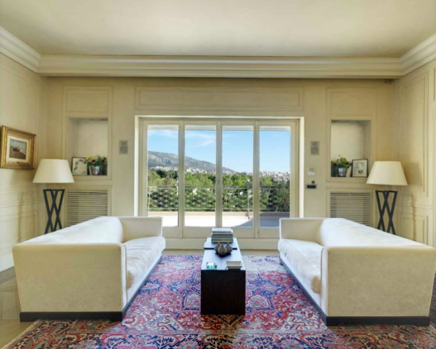 This elegant penthouse in the prestigious Kolonaki district was designed to take in the showstopping views of the Athenian skyline.