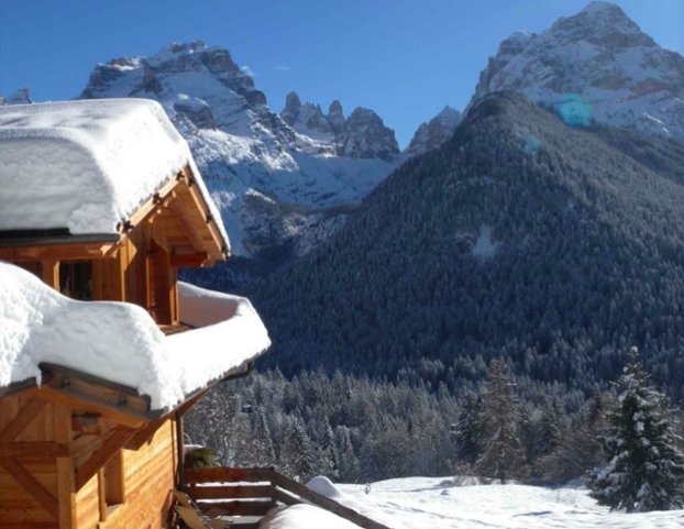 This magnificent alpine chalet, poised on a mountainside in the Brenta Dolomites, is perfect for ski and apres-ski, Italian style.